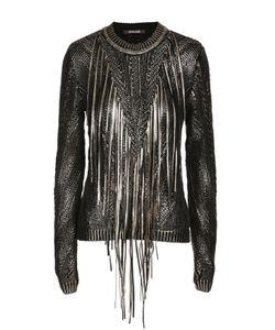 Roberto Cavalli | Пуловер С Металлизированной Отделкой И Бахромой