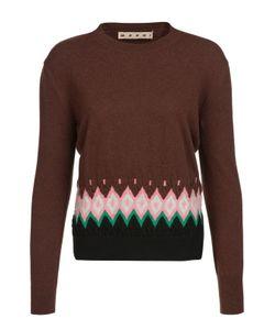 Marni | Шерстяной Пуловер С Круглым Вырезом И Контрастной Вставкой
