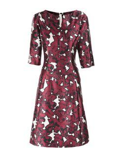 Oscar de la Renta | Приталенное Платье С Цветочным Принтом И Укороченным Рукавом Oscar De La