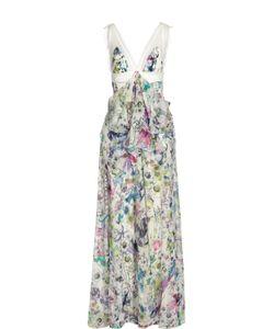 Roberto Cavalli | Шелковое Платье В Пол С Завышенной Талией И Цветочным Принтом Roberto