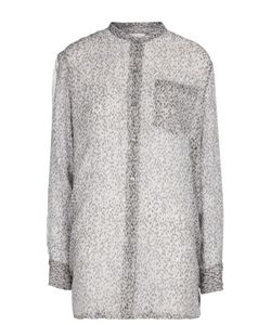 Dries Van Noten | Полупрозрачная Удлиненная Блуза С Воротником-Стойкой И Накладным Карманом