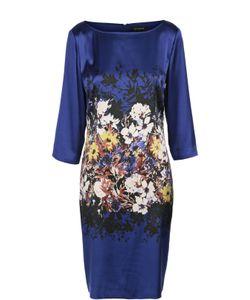 St. John | Шелковое Платье Прямого Кроя С Цветочным Принтом И Вырезом-Лодочка