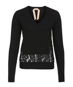 No. 21 | Пуловер Прямого Кроя С Кружевной Вставкой И V-Образным Вырезом