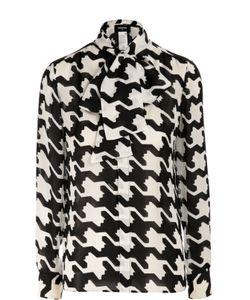 Dsquared2 | Шелковая Блуза С Принтом Гусиная Лапка И Воротником-Аскот