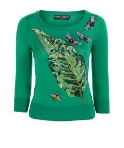 Dolce & Gabbana | Шелковый Пуловер С Укороченным Рукавом И Вышивкой