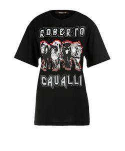 Roberto Cavalli | Хлопковая Удлиненная Футболка С Контрастным Принтом
