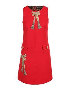 Dolce & Gabbana | Приталенное Мини-Платье С Декоративной Отделкой