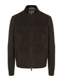 Canali | Куртка Из Замши С Шерстяными Рукавами