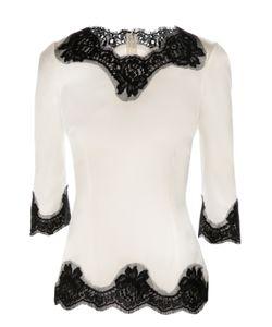 Dolce & Gabbana | Шелковая Приталенная Блуза С Кружевной Отделкой