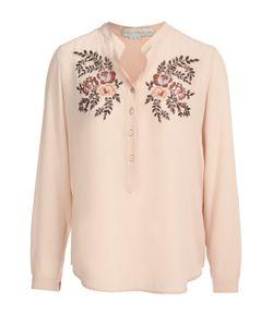 Stella Mccartney | Шелковая Блуза С Воротником-Стойкой И Цветочной Вышивкой