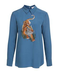 Stella Mccartney | Шелковая Удлиненная Блуза С Вышивкой В Виде Тигра
