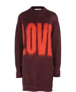Givenchy   Удлиненный Пуловер С Круглым Вырезом И Контрастной Надписью