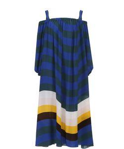 Fendi | Шелковое Платье В Полоску С Открытыми Плечами