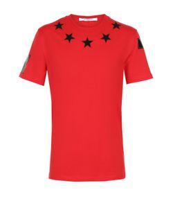 Givenchy | Хлопковая Футболка С Контрастными Нашивками В Виде Звезд И Принтом На