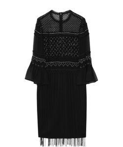 Elie Tahari | Шелковое Платье С Вышивкой Бисером И Бахромой