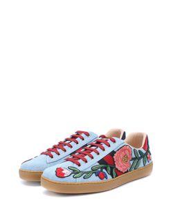 Gucci | Текстильные Кеды Ace С Контрастной Вышивкой