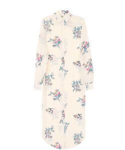 Stella Jean | Шелковое Платье-Рубашка С Цветочным Принтом