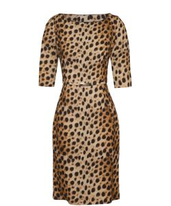 Blumarine | Приталенное Платье С Леопардовым Принтом И Поясом