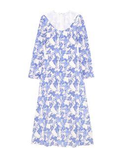 Francesco Scognamiglio | Шелковое Платье С Цветочным Принтом И Прозрачной Вставкой