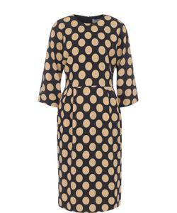 BOSS | Приталенное Платье-Миди В Горох