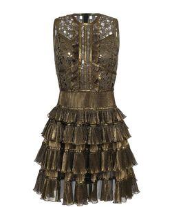 Elie Saab | Мини-Платье С Металлизированной Отделкой И Оборками