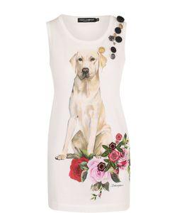 Dolce & Gabbana | Удлиненный Хлопковый Топ С Принтом
