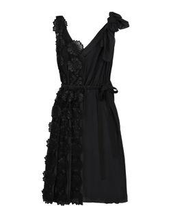 Rochas | Приталенное Платье С Плиссировкой И Фактурной Цветочной Отделкой