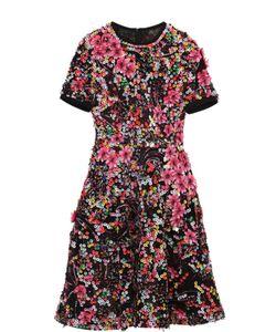 Elie Saab | Приталенное Мини-Платье С Контрастной Отделкой