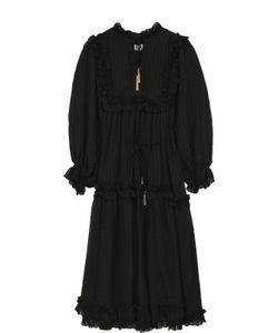 Zimmermann | Однотонное Платье-Миди С Завышенной Талией И Укороченным Рукавом