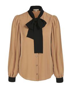 Michael Kors | Шелковая Блуза С Контрастным Воротником Аскот