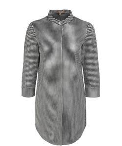 Michael Kors | Удлиненная Блуза В Мелкую Клетку С Воротником-Стойкой
