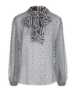 Diane Von Furstenberg | Полупрозрачная Шелковая Блуза С Воротником Аскот