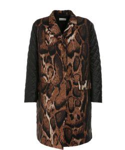 Dries Van Noten | Пальто Прямого Кроя С Принтом И Стеганым Рукавами
