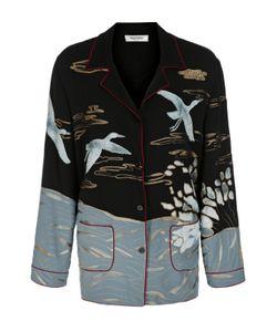 Valentino   Шелковая Блуза В Пижамном Стиле С Вышивкой