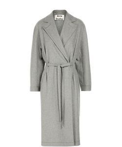 Acne | Шерстяное Пальто С Поясом И Широкими Лацканами