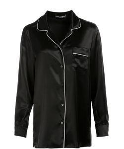 Dolce & Gabbana | Шелковая Блуза В Пижамном Стиле С Контрастной Отделкой