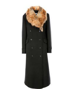 Dries Van Noten | Шерсятное Пальто Прямого Кроя С Меховой Отделокй
