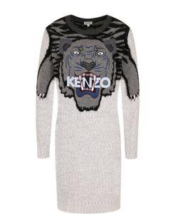 Kenzo | Шерстяное Мини-Платье С Принтом И Вышивкой