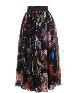 Dolce & Gabbana   Шелковая Юбка-Миди С Принтом И Эластичным Поясом