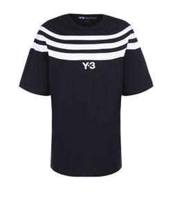 Y-3 | Хлопковая Футболка Свободного Кроя С Контрастной Отделкой