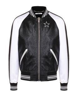 Givenchy | Кожаный Бомбер С Рукавами Из Смеси Вискозы И Шелка