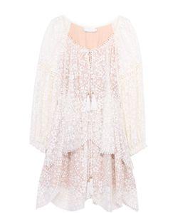Zimmermann | Шелковое Кружевное Мини-Платье С Поясом