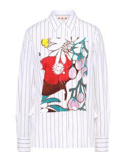 Marni | Блуза Прямого Кроя В Полоску С Цветочным Принтом