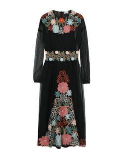 Red Valentino | Приталенное Платье-Миди С Длинным Рукавом