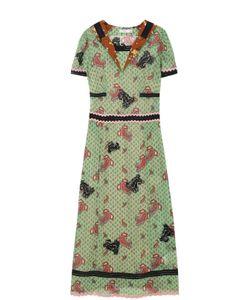 COACH | Приталенное Платье-Миди С Принтом И Вышивкой