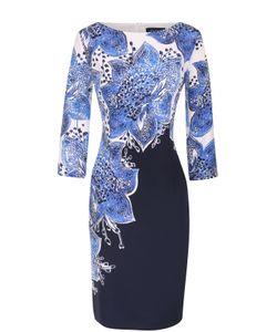 St. John | Шелковое Приталенное Платье С Цветочным Принтом