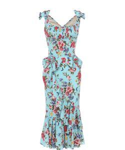Dolce & Gabbana | Шелковое Платье С Цветочным Принтом И Оборками