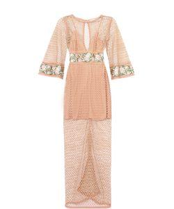 Alice McCall | Полупрозрачное Платье-Миди С Цветочной Отделкой