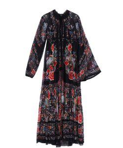 Roberto Cavalli | Шелковое Платье-Макси С Ярким Принтом И Асимметричными Рукавами