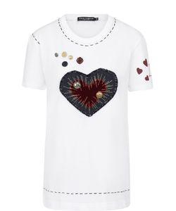Dolce & Gabbana | Хлопковая Футболка С Круглым Вырезом И Контрастной Отделкой
